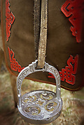 A Mongolian stirrup on a horse.