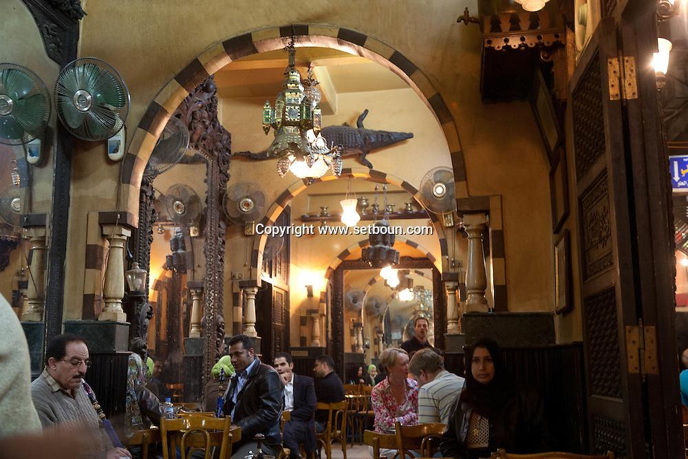 Egypt . Cairo : Fichawi cafe in KHAN KHALILI bazar market  area , street life.in islamic Cairo