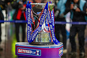 The Betfred Scottish League Cup on display ahead of the Betfred Scottish League Cup Final match between Rangers and Celtic at Hampden Park, Glasgow, United Kingdom on 8 December 2019.