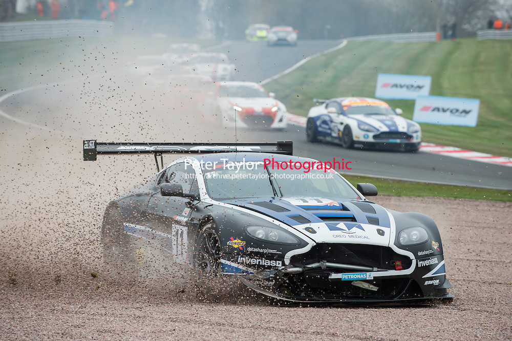 #11 Mark Farmer/Jon Barnes - 22GT Racing, Aston Martin Vantage GT3, PRO/AM ends up going into the gravel trap on the opening lap during British GT Championship race one as part of the British GT Championship at Oulton Park, Little Budworth, Cheshire, United Kingdom. April 06 2015. World Copyright Peter Taylor/PSP. Copy of publication required for printed pictures.  Every used picture is fee-liable.http://archive.petertaylor-photographic.co.uk