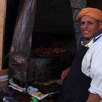 Africa, Morocco, Rabat. Grill and vendor of Kasbah Oudaya, Rabat.