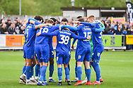 Wimbledon players ahead of kick of of the EFL Sky Bet League 1 match between AFC Wimbledon and Wycombe Wanderers at the Cherry Red Records Stadium, Kingston, England on 27 April 2019.