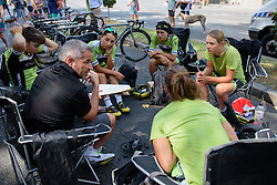 Cylance Pro Cycling talk through the plan for Madrid Challenge by La Vuelta an 87km road race in Madrid, Spain on 11th September 2016.