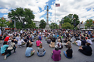 """Hundreds of protesters turned out for a Black Lives Matter """"Circle of Peace"""" protest at Centre Square in Easton, Pennsylvania."""