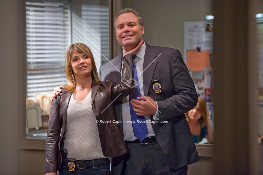 Law & Order: Criminal Intent co-stars Kathryn Erbe and Vincent D'Onofrio on set during the filming of an episode in New York.