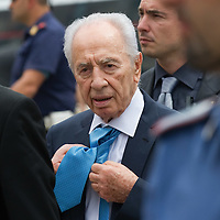 VENICE, ITALY - JUNE 03:  Israel President Shimon Peresis seen as he leaves the yacht Sea Blue Z in S Mark's Basin after visiting  the Venice Biennale on June 3, 2011 in Venice, Italy.  This year's Biennale is the 54th edition and will run from June 4th until 27 November.