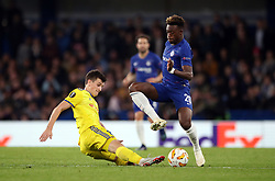 Chelsea's Callum Hudson-Odoi (right) and BATE Borisov's Stanislav Dragun battle for the ball during the UEFA Europa League, Group L match at Stamford Bridge, London.