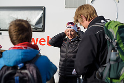 Leah Kirchmann catches up with some Canadian fans at Ronde van Drenthe 2017. A 152 km road race on March 11th 2017, starting and finishing in Hoogeveen, Netherlands. (Photo by Sean Robinson/Velofocus)