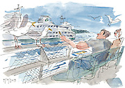 Visitors to Ivar's on Pier 54 enjoy a meal while sharing their french fries with the local seagulls. <br /> <br /> Gabriel Campanario / The Seattle Times