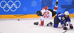PYEONGCHANG, Feb. 22, 2018  Sarah Nurse of Canada (L) vies for the puck during women's ice hockey final against the United States at Gangneung Hockey Centre, in Gangneung, South Korea, Feb. 22, 2018. The United States beat Canada in shootout to win the women's ice hockey gold medal at the Winter Olympic Games here on Thursday. (Credit Image: © Wang Haofei/Xinhua via ZUMA Wire)