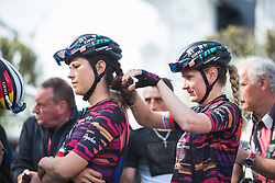 Alena Amialiusik (BLR) of CANYON//SRAM Racing helps braiding her team mate's hair before Liege-Bastogne-Liege - a 136 km road race, between Bastogne and Ans on April 22, 2018, in Wallonia, Belgium. (Photo by Balint Hamvas/Velofocus.com)