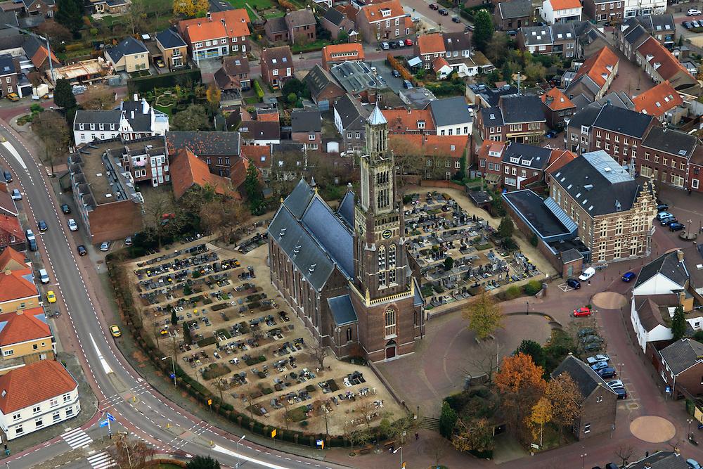 Nederland, Limburg, Echt 15-11-2010;.Sint Landricuskerk in Echt. luchtfoto (toeslag), aerial photo (additional fee required).foto/photo Siebe Swart