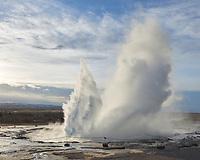Strokkur Geyser erupts. Geysir area, South Iceland.