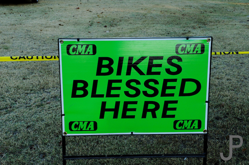 Christian Motorcycle Association sign saying Bikes Blessed Here