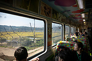 The DMZ Peace Train, which leaves Seoul for the DMZ five times each week, enters the heavily fortified DMZ bound for Dorasan Station. (September 29, 2019)