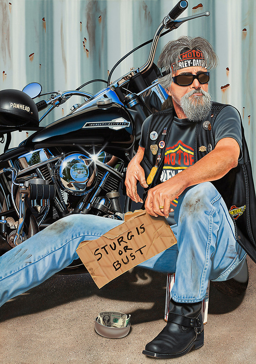 """""""The Panhandler""""<br /> Painting by Scott Jacobs 2012<br /> <br /> The painting depicting Scotts close friend Paul Lowe was the 2012 Sturgis Rally cover piece."""