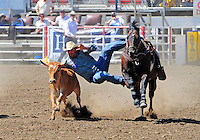 Steer wrestler Ethen Thouvenell from Napa, California is all concentration in the moment of capture at the 102nd California Rodeo Salinas, which opened July 19 for a four-day run.