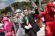 Carnival performer dressed as Mexican President Enrique Pena Nieto. The annual Carnival in Zoque Coiteco, a district of Chiapas in Southern Mexico happens in the five days preceeding Ash Wednesday along with Carnival throughout the Americas. Participants dress in colourful costumes with masks depicting famous political and entertainment figures, and throw talcum powder at each other.