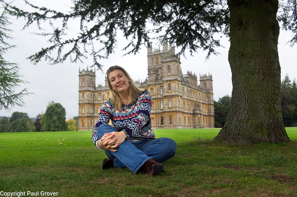 Dow0034269.DT Weekend.Lady Fiona Carnarvon outside her home Highclere Castle
