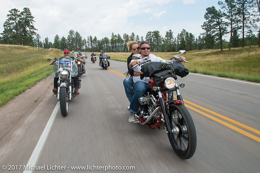 Bean're riding beside Aaron Green and Melody Seaton on the Aidan's Ride to raise money for the Aiden Jack Seeger nonprofit foundation to help raise awareness and find a cure for ALD (Adrenoleukodystrophy) during the annual Sturgis Black Hills Motorcycle Rally. Riding between Nemo and Rapid City, SD, USA. Tuesday August 8, 2017. Photography ©2017 Michael Lichter.