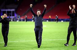 Tottenham Hotspur manager Mauricio Pochettino (centre), assistant manager Jesus Perez (left) and Toni Jimenez celebrate after the final whistle during the UEFA Champions League Semi Final, second leg match at Johan Cruijff ArenA, Amsterdam.
