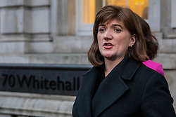 © Licensed to London News Pictures. 04/02/2019. London, UK. Nicky Morgan speaks to the media as she leaves the Cabinet Office after a meeting of the Alternative Arrangements Working Group on Brexit. Photo credit: Rob Pinney/LNP