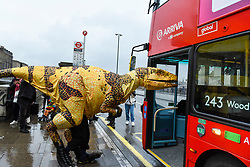 © Licensed to London News Pictures. 13/02/2020. LONDON, UK. A Fukui raptor attempts to board a double decker bus.  The raptor is from Erth's Dinosaur Zoo, one of the acts forming part of Imagine Children's Festival at Southbank Centre for half term 12 to 23 February 2020.   Photo credit: Stephen Chung/LNP