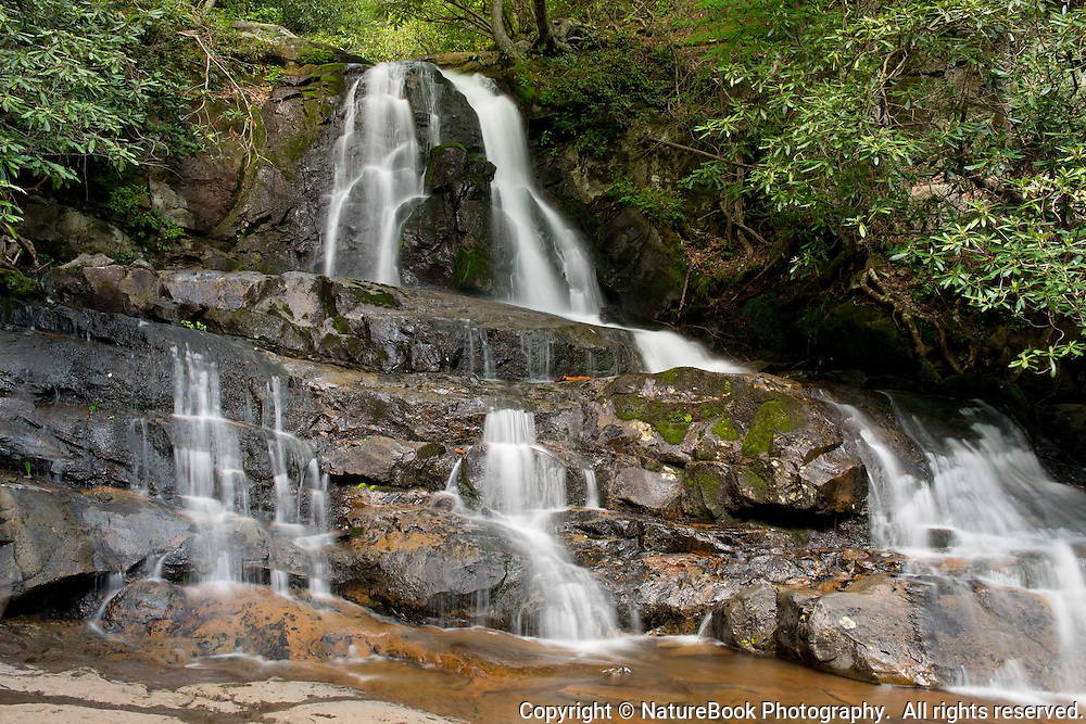 The water flow at Laurel Falls in Great Smoky Mountains National Park spreads out as it makes its way down the rocks.