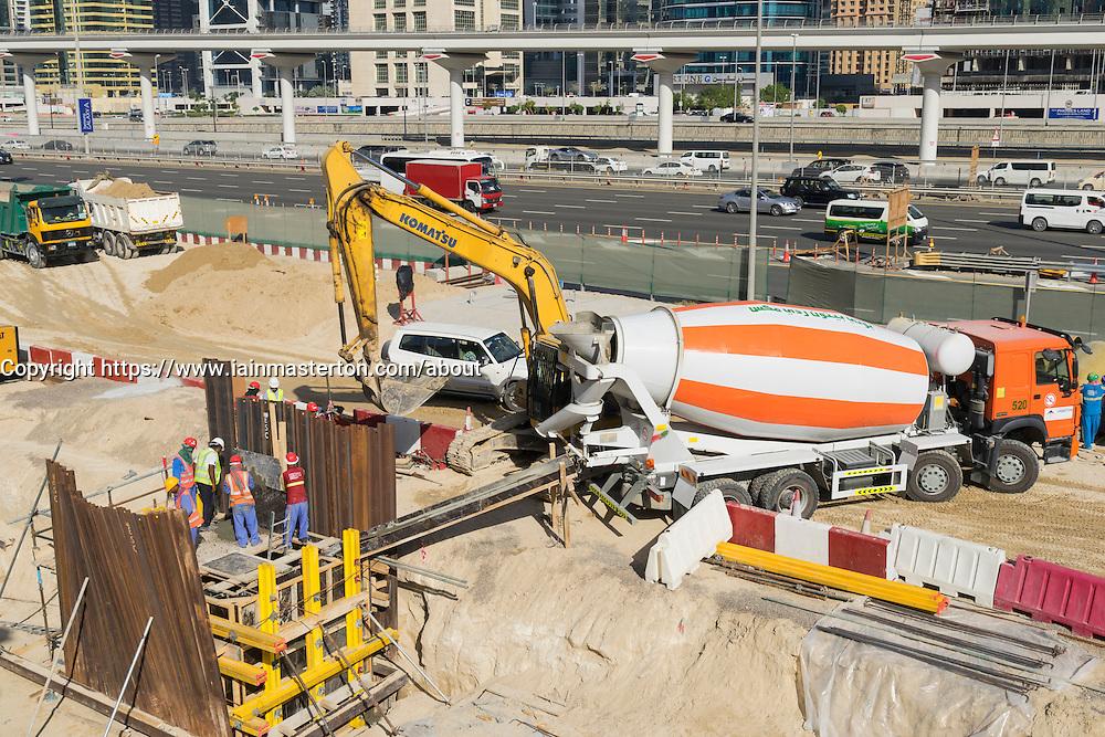 construction site beside  Sheikh Zayed Road in Dubai United Arab Emirates