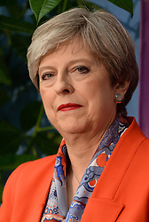 Prime Minister Theresa May at the Magnet Leisure Centre in Maidenhead, after she held her seat.