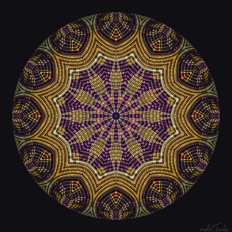 Wicker textured Manadala with radiating with rich complementary purple and gold colors.