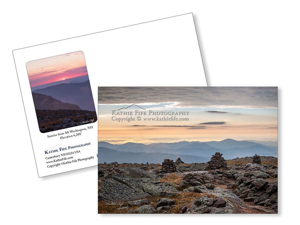 Mt Washington Sunrise 5x7 Greeting Card 100% Recycled Paper