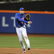 NEW YORK, NEW YORK - APRIL 11: Wilmer Flores, New York Mets, makes an out during the Miami Marlins Vs New York Mets MLB regular season ball game at Citi Field on April 11, 2016 in New York City. (Photo by Tim Clayton/Corbis via Getty Images)