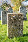 Headstones of the graves of the famous Mitford family - Nancy Mitford, author - in the churchyard of St Mary's Church in Swinbrook in The Cotswolds, Oxfordshire