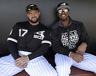 GLENDALE, ARIZONA - FEBRUARY 23:  Yonder Alonso #17 (L) and Eloy Jimenez #74 of the Chicago White Sox look on prior to the game against the Los Angeles Dodgers on February 23, 2019 at Camelback Ranch in Glendale Arizona.  (Photo by Ron Vesely)  Subject:  Yonder Alonso; Eloy Jimenez