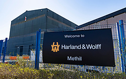 Methil, Scotland, UK. 16 April 2021. A Methil fabrication yard  in Fife is to reopen after securing a contract to fabricate eight platforms for wind turbines. The yard was previously operated by BiFab but was taken over in February by a London firm InfraStrata, operating under the Harland and Wolff brand. The contract is for the Nearth na Gaoithe Offshore Wind (NnG) project and is expected to create almost 300 jobs. Pic; general view of Harland & Wolff fabrication yard in Methil.  Iain Masterton/Alamy Live News