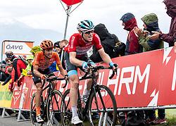 12.07.2019, Kitzbühel, AUT, Ö-Tour, Österreich Radrundfahrt, 6. Etappe, von Kitzbühel nach Kitzbüheler Horn (116,7 km), im Bild v.l. Riccardo Zoidl (AUT, CCC Team), Ben Hermans (BEL, Israel Cycling Academy) im roten Flyeralarm Trikot des Gesamtführenden der Österreich Rundfahrt // f.l. Riccardo Zoidl of Austria (CCC Team) Ben Hermans of Belgium Team Israel Cycling Academy in the red Flyeralarm overall leaders jersey during 6th stage from Kitzbühel to Kitzbüheler Horn (116,7 km) of the 2019 Tour of Austria. Kitzbühel, Austria on 2019/07/12. EXPA Pictures © 2019, PhotoCredit: EXPA/ Reinhard Eisenbauer