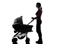 one  woman prams baby looking up silhouette on white background