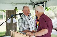 John Sleeper and Dexter Willson during the preparation for the 70th Anniversary celebration of the Kiwanis Pool in St. Johnsbury Vermont.  Karen Bobotas / for Kiwanis International