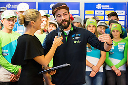 Bernarda Zarn and Filip Flisar during official presentation of the outfits of the Slovenian Ski Teams before new season 2016/17, on October 18, 2016 in Planica, Slovenia. Photo by Vid Ponikvar / Sportida