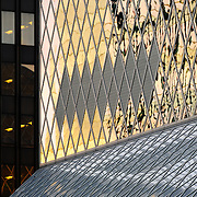 Architectural detail of the south side of the Seattle Central Library branch of the Seattle Public Library in downtown Seattle Washington, USA.  Opened in 2004 and designed by Rem Koolhaus of OMA in a joint venture with LMN Architects.