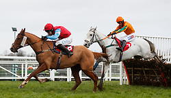 Man of Plenty (left) ridden by Sean Houlihan on their way to winning The Jumeirah Hotels And Resorts December Handicap Hurdle during day two of the Betfair Tingle Creek Christmas Festival at Sundown Park Racecourse, Sandown.
