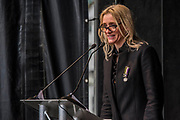 Anne-Marie Duff reads 'Freedom or Death' - #March4Women 2018, a march and rally in London to celebrate International Women's Day and 100 years since the first women in the UK gained the right to vote.  Organised by Care International the march stated at Old Palace Yard and ended in a rally in Trafalgar Square.