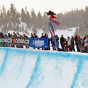 US Snowboarding Team member Hannah Teter competes in the half pipe during finals at the 2009 LG Snowboard FIS World Cup at Cypress Mountain, British Columbia, on February 16th, 2009. Teter won the bronze medal.
