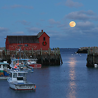 This New England photography image of Rockport Motif #2 with a rising full moon is available as museum quality photography prints, canvas prints, acrylic prints, wood prints or metal prints. Prints may be framed and matted to the individual liking and decorating needs: <br />