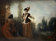 The Adventuress' 1717. Oil on canvas. Jean-Antoine Watteau (1684-1721) French painter. Garden landscape with fashionably dressed woman in centre.