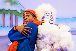 Hackney Empire Theatre, London, November 25th 2015.  Hackney Empire presents Jack and the Beanstalk as their 2015 Christmas pantomime. London's most famous panto will star Hackney Empire's own Olivier nominated dame Clive Rowe as Dame Daisy Trott, Olivier Award-nominated Bodyguard actress Debbie Kurup as Jack and Hackney Panto favourite Kat B as Snowman. Written and directed by Creative Director Susie McKenna, with music by Steven Edis. PICTURED: Darren Hart - Clumsy colin (L) and Kat B - Snowman.
