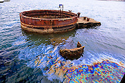 Oil still leaks from the wreckage of the USS Arizona. USS Arizona Memorial Museum, Pearl Harbour, Hawai. RIGHTS MANAGED LICENSE AVAILABLE FROM www.PhotoLibrary.com
