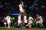 George Kruis of England wins the ball in a lineout during the Guinness Six Nations between England and Wales at Twickenham Stadium, Saturday, March 7, 2020, in London, United Kingdom. (Mitchell Gunn-ESPA-Images/Image of Sport)