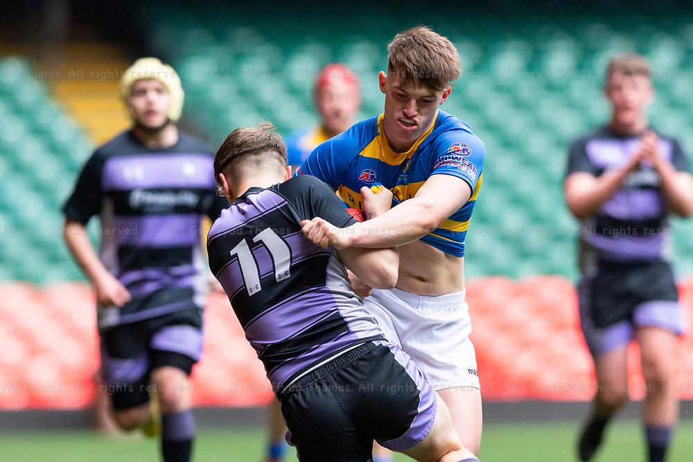 Principality Stadium, Cardiff, Wales, UK. Wednesday 1 May 2019. Ysgol Bassaleg and Ysgol Bro Myrddin compete in the Welsh Schools Rugby Union Under 18 Vase Final